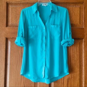 Express Light Blue Portofino Button-up Top Small